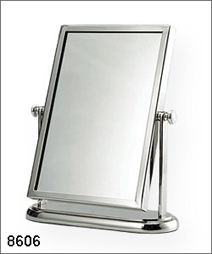 #8606 standing recangle mirror, single side, brass
